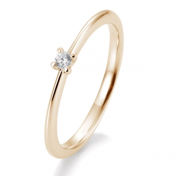 Antragsring | Solitaire Ring Rotgold mit 0,05 ct W/SI