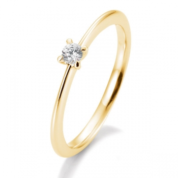 Antragsring | Solitaire Ring Gelbgold mit 0,10 ct W/SI