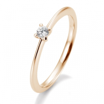 Antragsring | Solitaire Ring Rotgold mit 0,10 ct W/SI