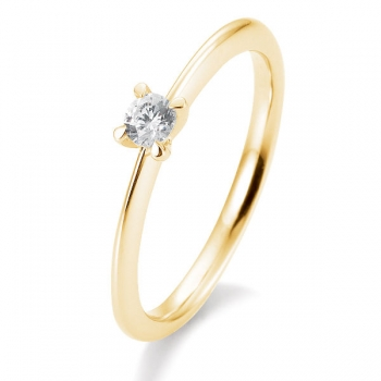 Antragsring | Solitaire Ring Gelbgold mit 0,15 ct W/SI