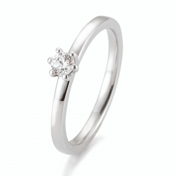 Antragsring | Solitaire Ring Weissgold mit 0,15 ct W/SI