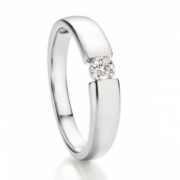 Solitaire Weissgold Ring | Spannring Optik 0,20 ct