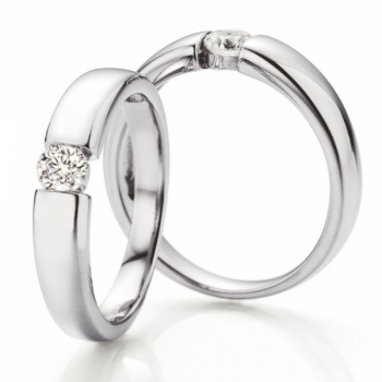 Solitaire Weissgold Ring | Spannring Optik 0,30 ct