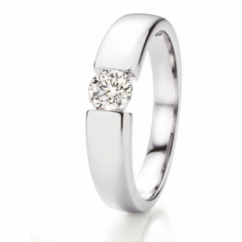 Solitaire Weissgold Ring | Spannring Optik 0,40 ct