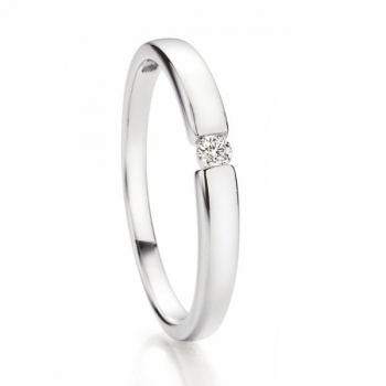 Solitaire Weissgold Ring | Spannring Optik 0,05 ct