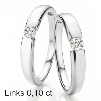 Solitaire Weissgold Ring | Spannring Optik 0,10 ct