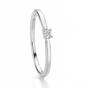 Weissgold Ring Solitaire 0,05 ct