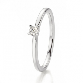 Weissgold Ring Solitaire 0,100 ct
