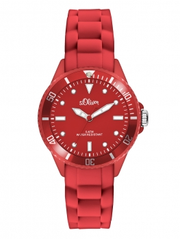 SO-2570-PQ - s.Oliver COLORS Silikonbanduhr- Rot