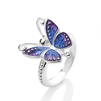 Flying Purple, Schmetterling Ring aus Silber mit Brandlack.
