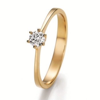 585 Gelbgold Solitaire Ring mit 0,33 W/Si