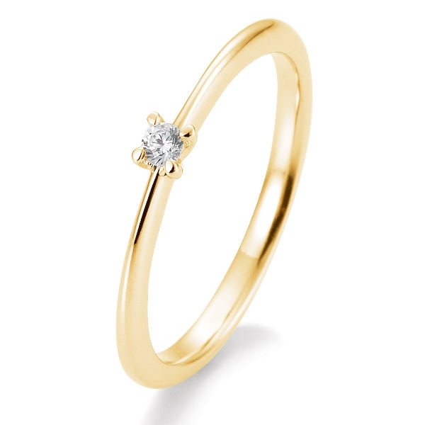 Antragsring | Solitaire Ring Gelbgold mit 0,05 ct W/SI